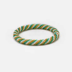 Beads Bracelet - Green & White & Golden Lines