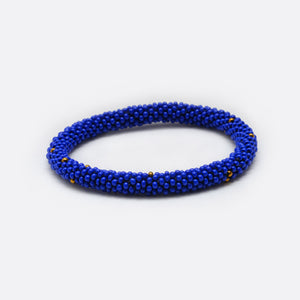 Beads Bracelet - Blue & Golden Dots