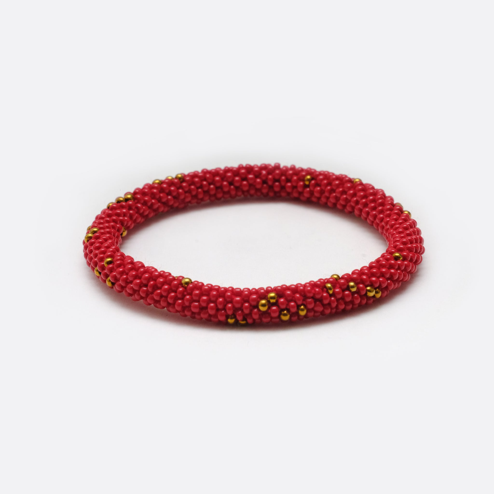 Beaded Bracelet - Red & Golden Dots