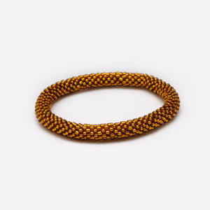 Beaded Bracelet - Shiny Dark Gold