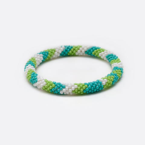 Beaded Bracelet - Light Blue & Green & White Flash