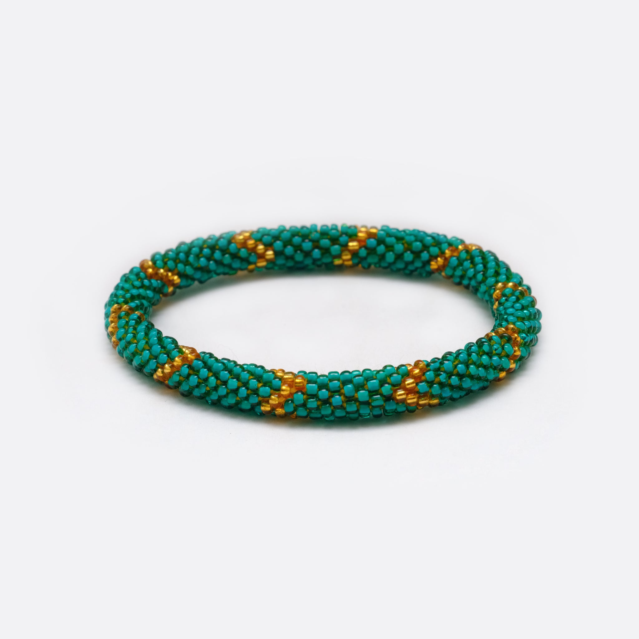 Beaded Bracelet - Shiny Green & Golden Flash
