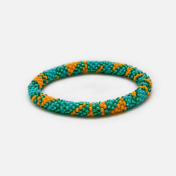 Beaded Bracelet - Turquoise & Organe Triangle