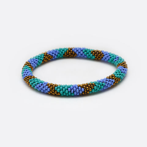 Beaded Bracelet - Blue & Turquoise & Bronze