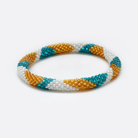 Beaded Bracelet - Gold & White & Turquoise Shiny