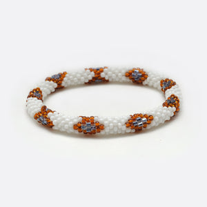 Beads Bracelet - White & Brown Snake