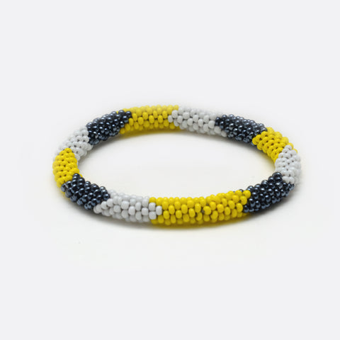 Beaded Bracelet - White & Yellow & Silver