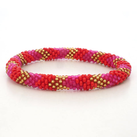 Beaded Bracelet - Mat Pink & Red & Gold