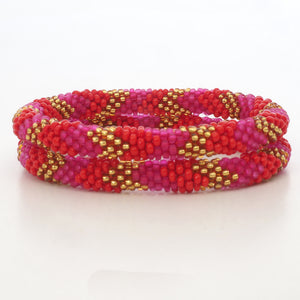 Beaded Bracelet Set - Mat Pink & Red & Gold