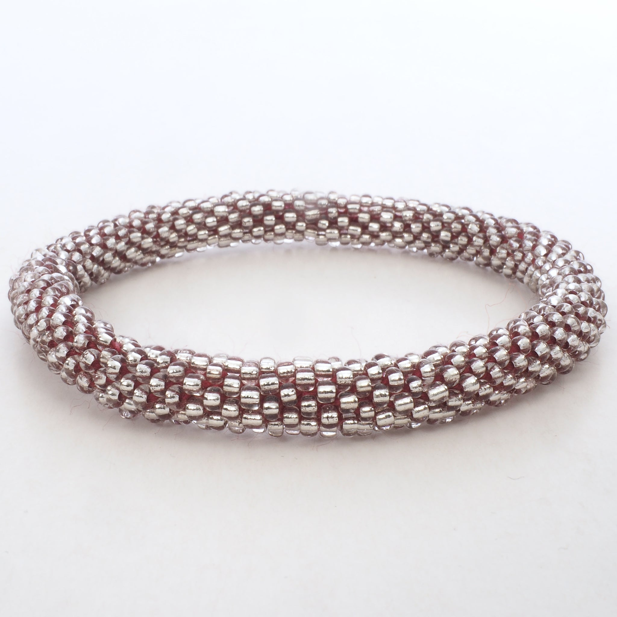 Beaded Bracelet - Silver & Pink Thread