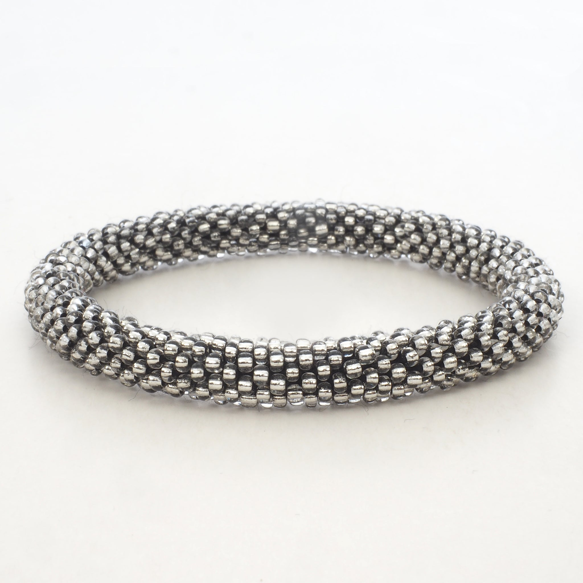 Beaded Bracelet - Silver Shiny Transparent Dark