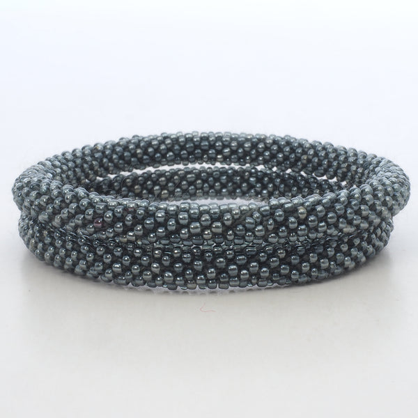 Beaded Bracelet Set - Dark Grey Silver Shiny