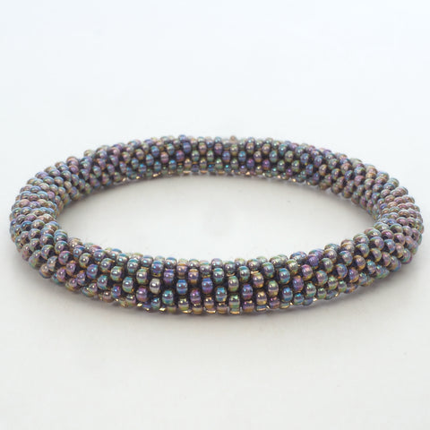 Beaded Bracelet - Silver Multi Color Shiny