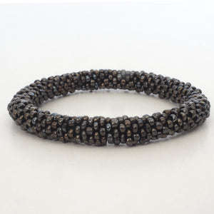Beaded Bracelet - Dark Brown Bit Shiny