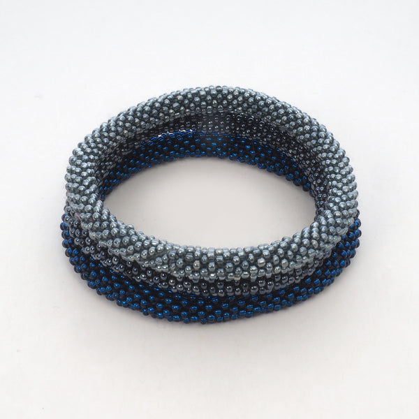 Beaded Bracelet Set of 3 - Dark Silver & Dark Blue