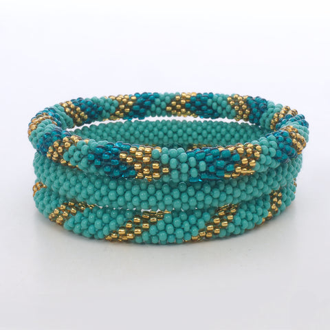 Beaded Bracelet Set of 3 - Shades of Turquoise & Gold