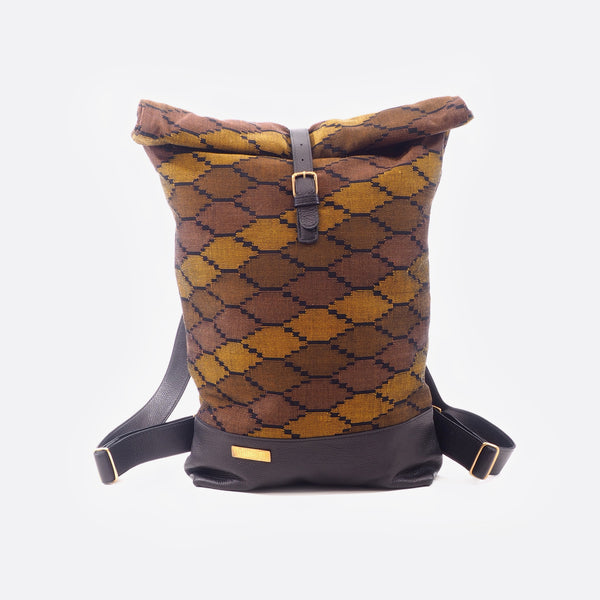 Deep Brown Earth - Backpack With Leather