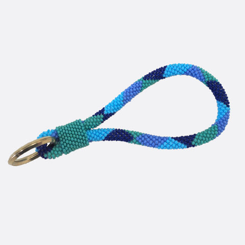 Beads Key Chain - Blue Squares