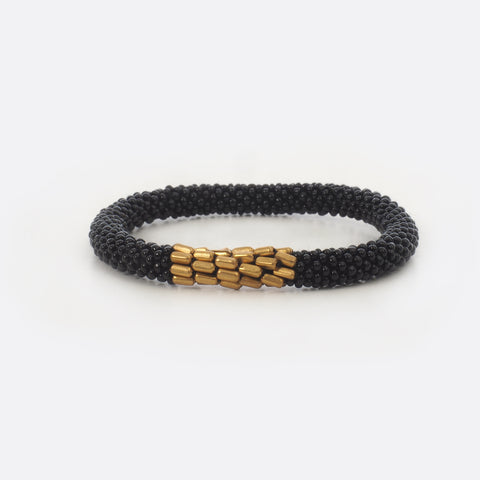Beaded Bracelet With Brass - Black