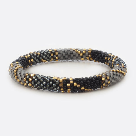 Beaded Bracelet - Black & Grey & Gold & Transparent Triangle