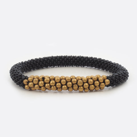 Beaded Bracelet With Brass - Black & Golden Power