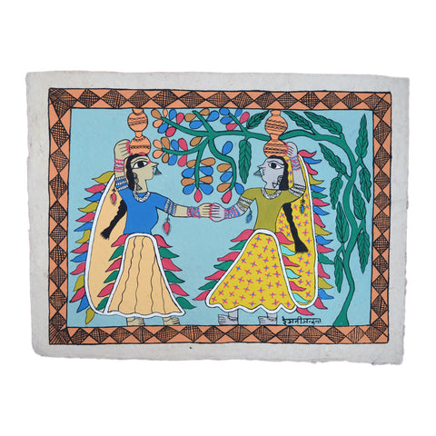 Two dancing women are holding hands. Their dresses are colorful. They have each two pots on their heads, big nose rings and other jewelry. They are dancing barefoot. The female artist Remani Mandal has drawn the painting on lokta paper.