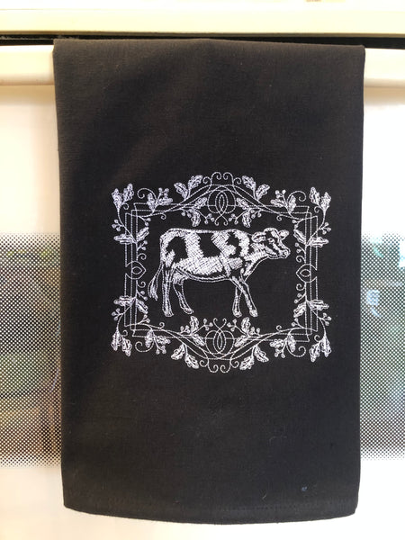 chalkboard cow hand towel on classic black