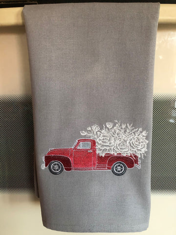 Red Retro Flower Truck Kitchen Hand Towel on Gray