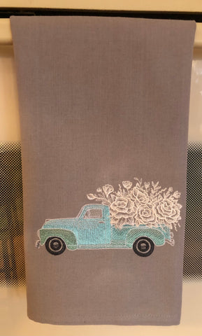 Retro Flower Truck with Flowers Kitchen Hand Towel on Gray