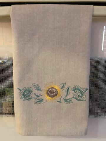 Sunflower Border in Green on Kitchen Hand Towel