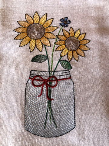 Sunflower in Mason Jar Kitchen Hand Towel