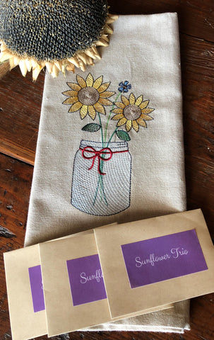Sunflower in a Mason Jar Hand Towel with Sunflower Trio Seed Collection