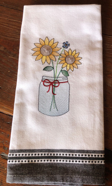 Sunflower Hand Towel, White with Black Trim, with Sunflower Trio Seed Collection