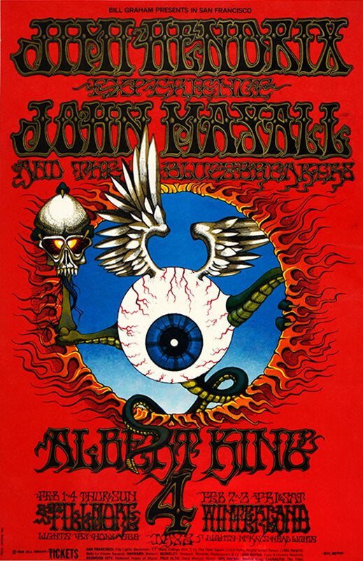 "$5,000 Reward Announced for Jimi Hendrix ""Flying Eyeball"" BG 105 Fillmore Auditorium 2/1/68 Concert Poster"