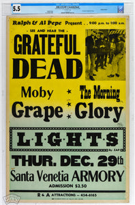 Up For Auction First Ever CGC Certified Copy of Early Grateful Dead Scarce Cardboard Poster