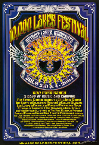 10,000 Lakes Festival 2004 Detroit Lakes July 2nd Signed Poster