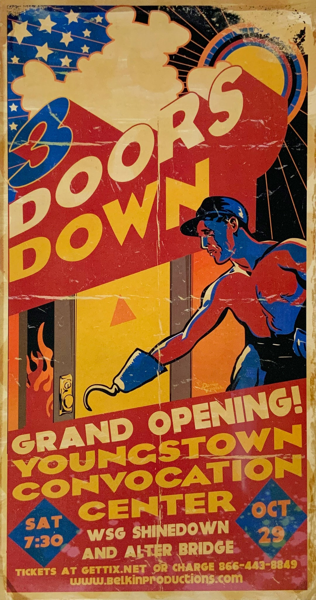 3 Doors Down Youngstown Convocation Center October 29th Handbill Poster