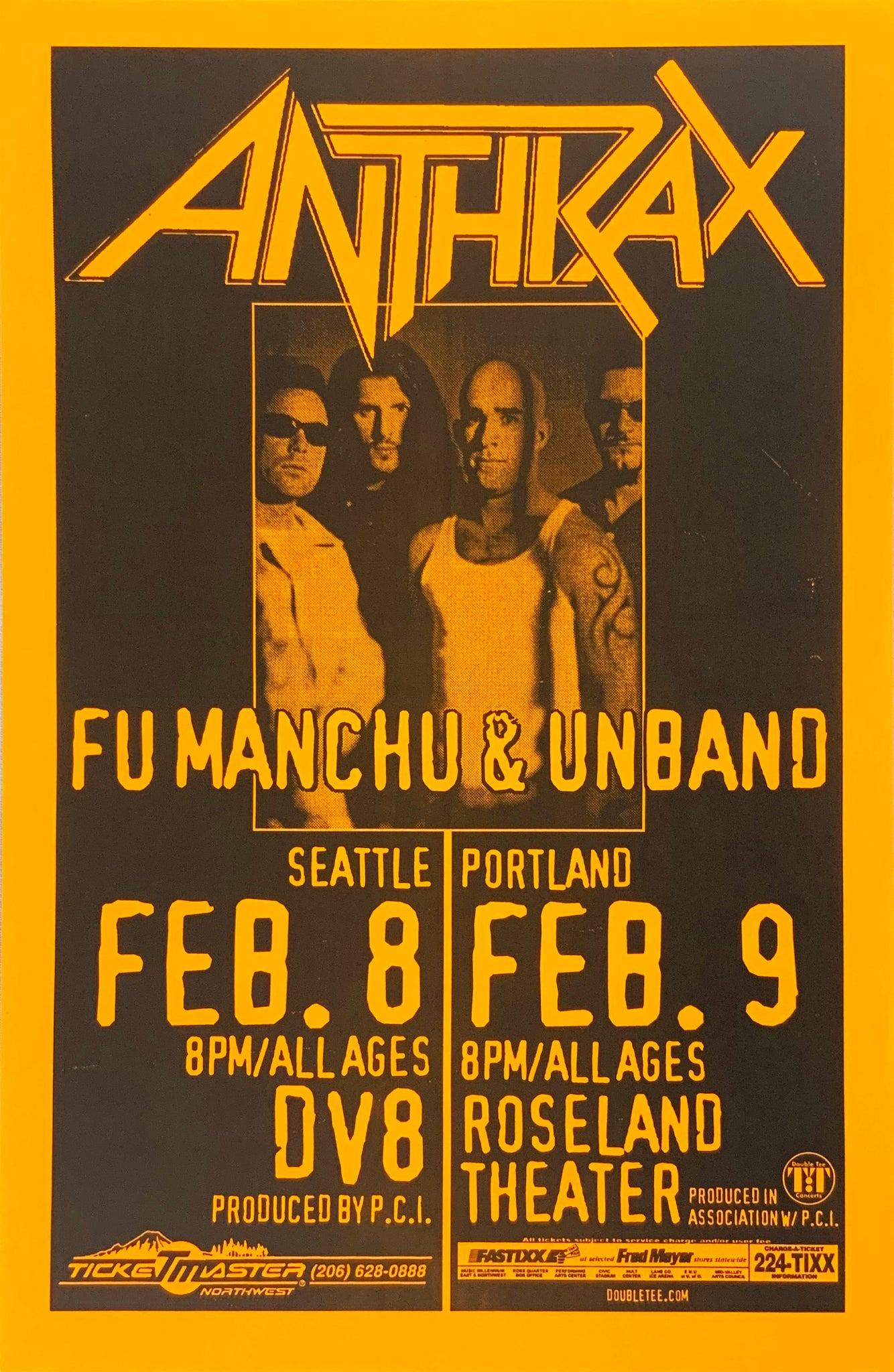 Anthrax Roseland Theater February 8th Poster