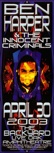 Ben Harper 2003 The Backyard Live Oak Amphitheatre April 30th Poster