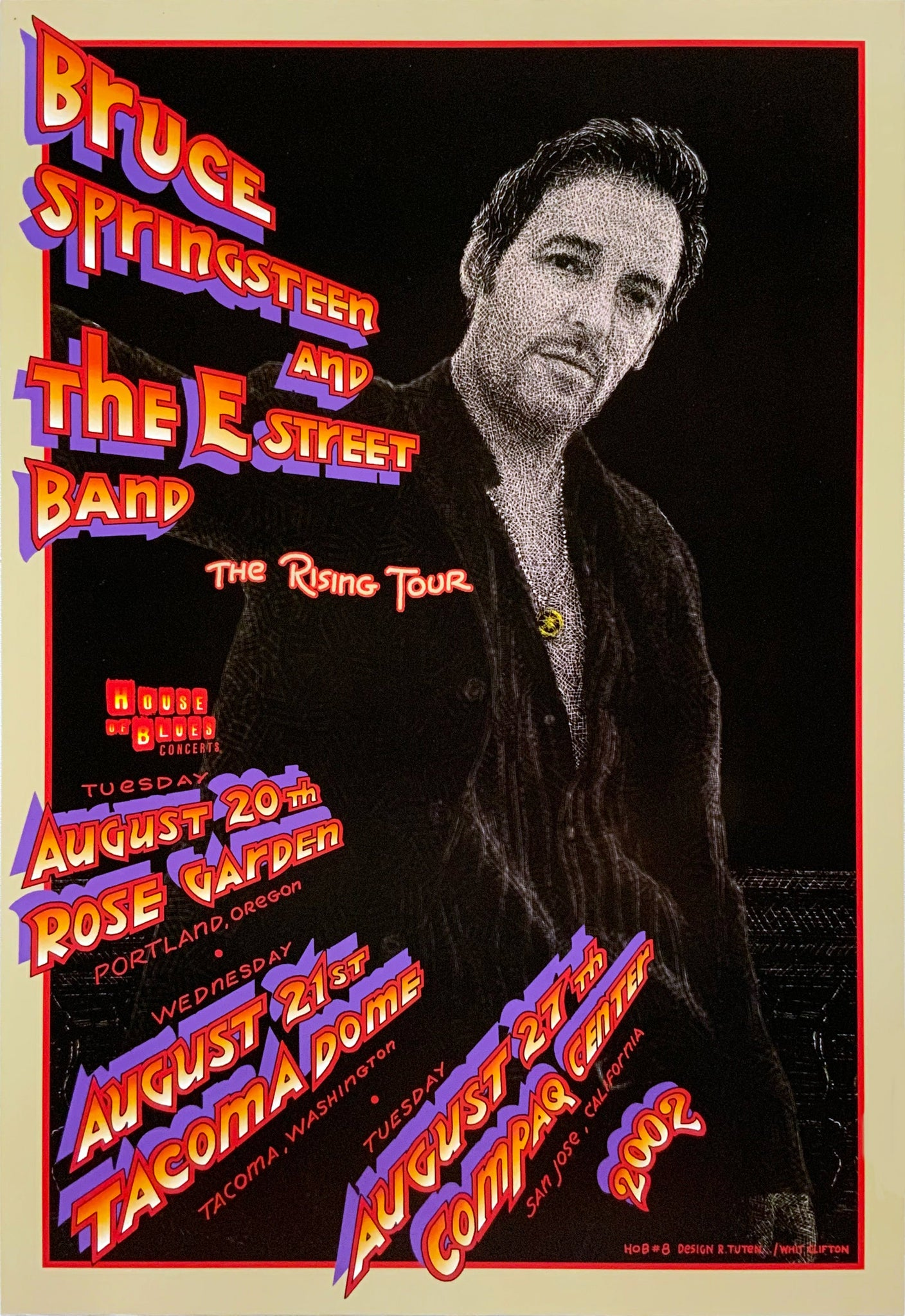 Bruce Springsteen and The E Street Band 2002 Rose Garden August 20th Poster