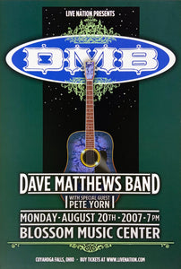Dave Matthews Band 2007 Blossom Music Center August 20th Poster
