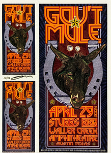 Gov't Mule 2004 Stubb's BBQ Waller Creek Amphitheatre April 29th Uncut Signed Poster