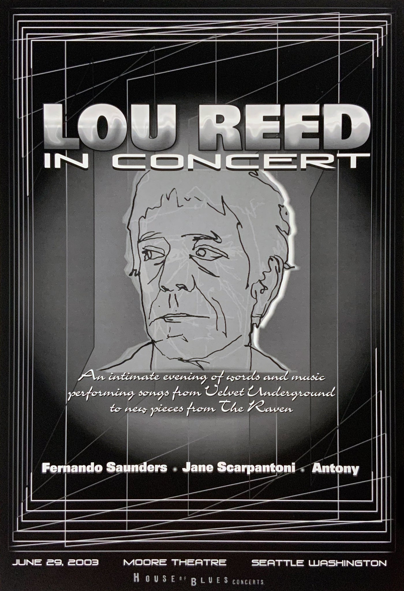 Lou Reed 2003 Moore Theatre June 29th Poster