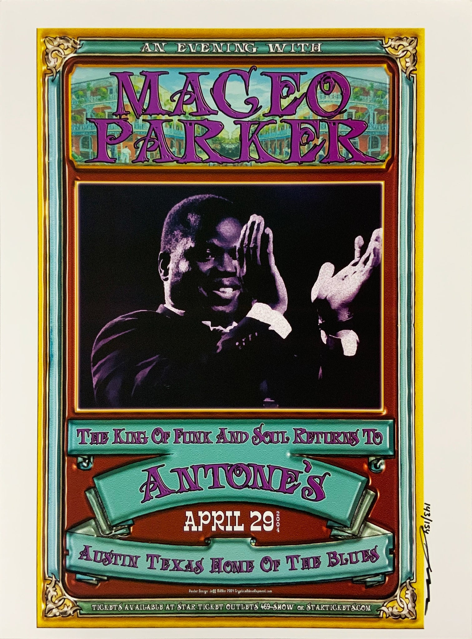 Maceo Parker 2004 Antone's April 29th Signed Poster