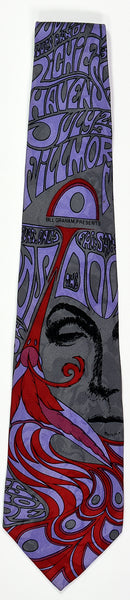 "BG-75 POSTER TIE : THE DOORS : PEACOCK : MULBERRY NECKWEAR'S ""FILLMORE POSTER TIES"""