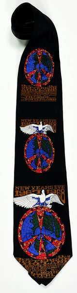"BG-100 POSTER TIE : BIG BROTHER & THE HOLDING CO : WINTERLAND NEW YEARS EVE : ""WHITE BIRD"" : MULBERRY NECKWEAR'S ""FILLMORE POSTER TIES"""