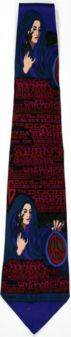"BG-99 POSTER TIE : THE DOORS : CHRISTMAS AT WINTERLAND : ""PEACE SIGN"" : MULBERRY NECKWEAR'S ""FILLMORE POSTER TIES"""