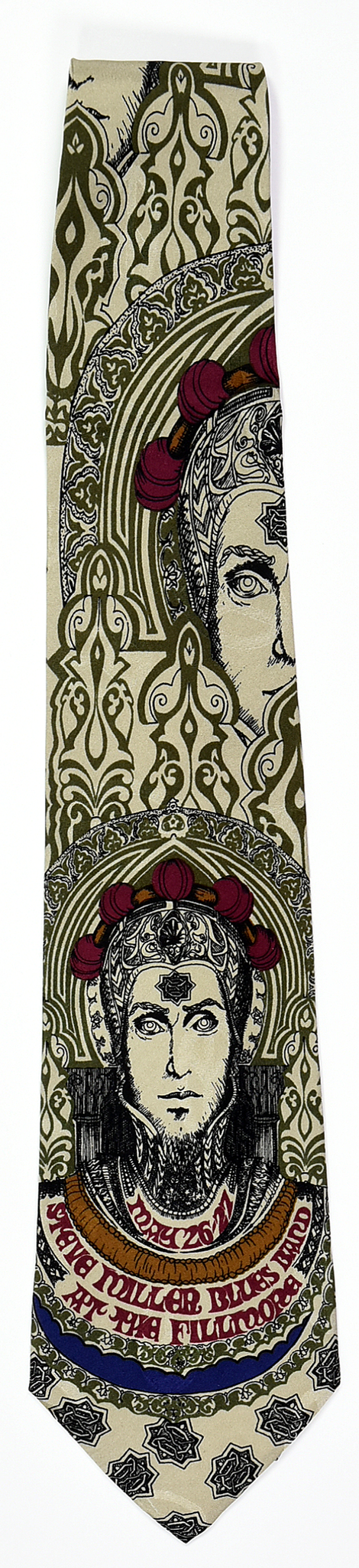 "BG-65 POSTER TIE : STEVE MILLER BLUES BAND : GREEN : MULBERRY NECKWEAR'S ""FILLMORE POSTER TIES"""