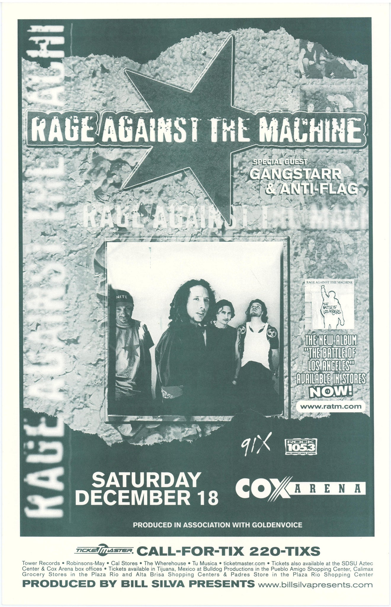 Rage Against The Machine Cox Arena December 18th Poster