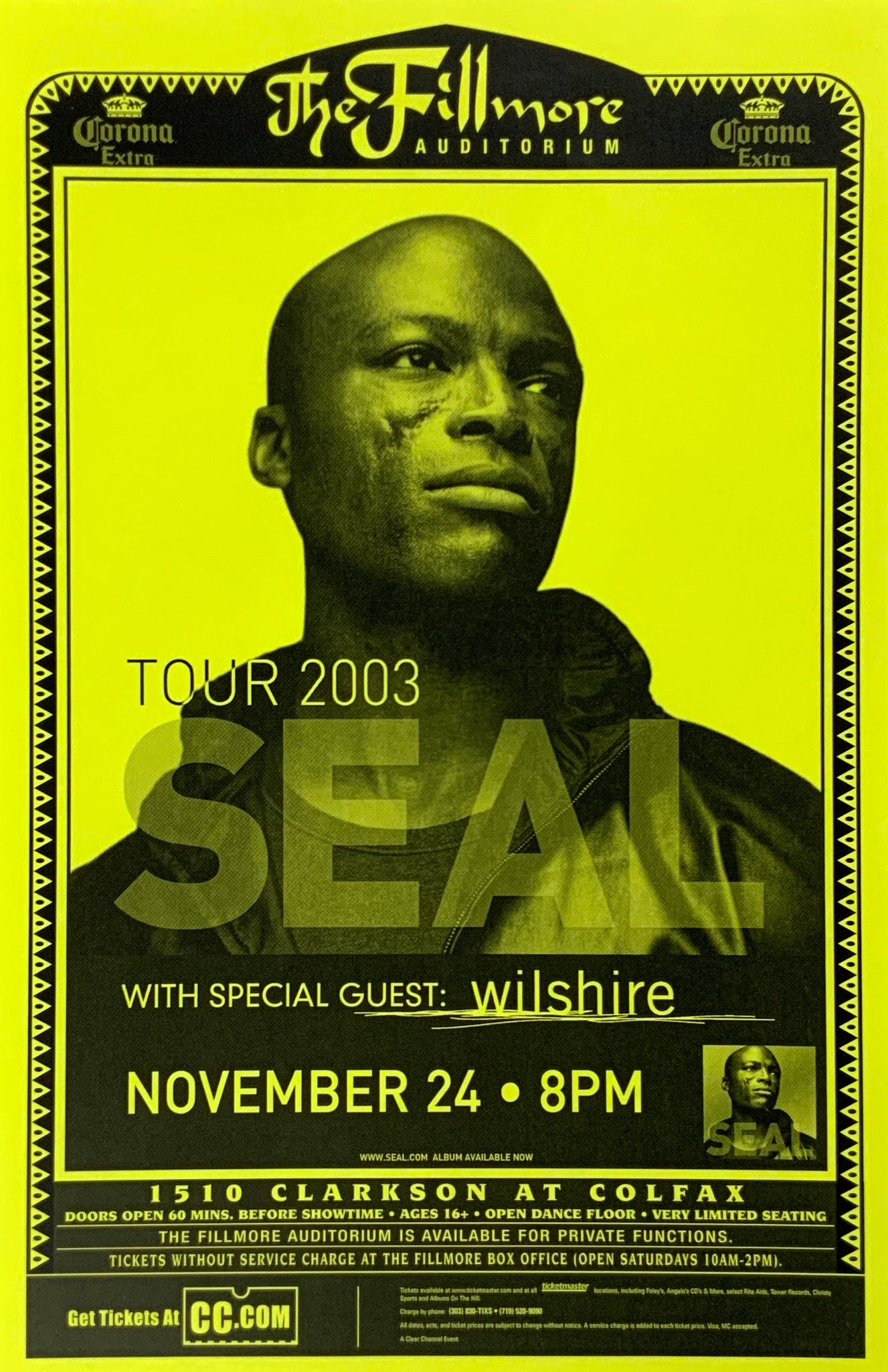 Seal 2003 Fillmore Auditorium November 24th Poster